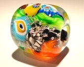 Lampwork Glass Happy Bead Focal Colorful Murrini With Silver Mesh SRA