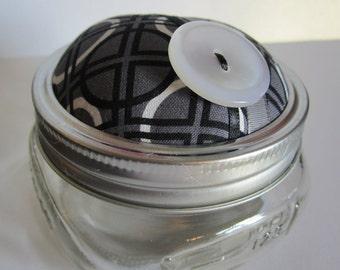 Metro Pewter Jar. Pincushion. Black and White.