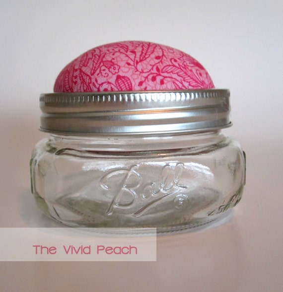 Pink Garden Pincushion, Storage Jar.