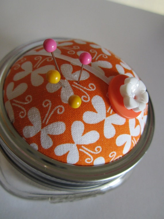 SALE Tangy Butterfly Pincushion/Vanity Storage Jar. Orange and White.