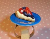 Ultra Kawaii Destash Berry Tart on Fancy Plate Adjustable Ring