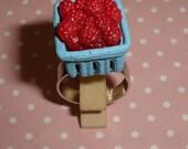 Ultra Kawaii Destash Fresh Market Rasberries in Carton Adjustable Ring