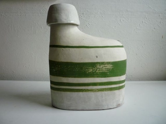 vintage white and green decanter