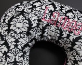 Save 15% on all Boppy Covers - Customized 2 color minky boppy cover in Damask and Hot Pink Boppy Pillow Cover