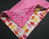 Baby Girl Minky Blanket, Pink Owls 16x16
