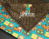 Boy Minky Baby Blanket, Personalized Trains 36x30 (applique free)