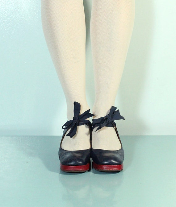 Navy Blue and Red Capezio Character Shoes with Ribbon Bows - 1930s or 40s