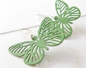 Sage Butterfly Earrings, Mint Green, Sterling Silver Hooks -…, Insect, Light Green Earrings, Spring Jewelry, Leightweight