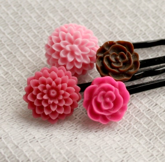 Berries and Chocolate - Flower Hair Pins