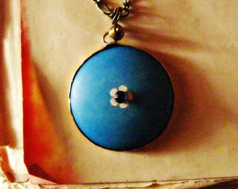 Skies Are Blue pendant upcycled vintage summer necklace