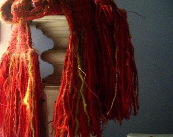 handwoven wool wrap scarf shawl.. Balrog Red