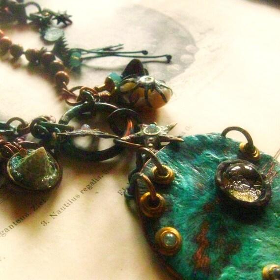 Nautilis Regalis pendant patina sea creature steampunk assemblage necklace