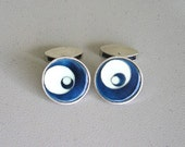 sterling silver and enamel cufflink, one-of-a-kind, handmade in England