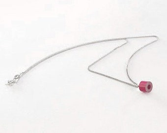Color Pencil Necklace In Lip Stick, Pencil Jewelry Handmade In The UK By Huiyi Tan