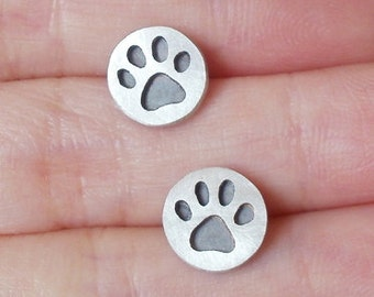 Paw Print Earring Studs, Oxidized Paw Print Earring Studs, Handmade In The UK