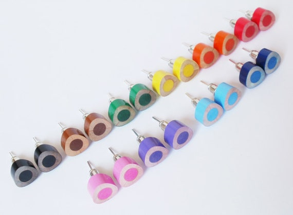 color pencil ear studs, triangle pencil jewelry in candy colors, handmade in England by Huiyi Tan