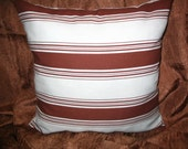 Throw Pillow PILLOW SALE!!! New 16in square Aqua Blue and Chocolate Brown Modern Chic Striped Decorator