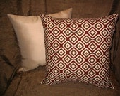 Throw Pillow PILLOW SALE!! 15in square Modern Retro Geometric Urban Burgandy Brown Taupe Crazy Decorator