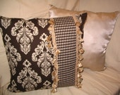 Throw Pillows, PIllow Covers, Cushions PILLOW SALE!!! Chocolate Brown and Ivory Latte Damask Chic Designer Decorator