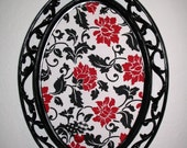 Magnetic Magnet Board Vintage Homco Glamorous Black Red White Floral Chic Damask  Memo Board  Perfect for Weddings