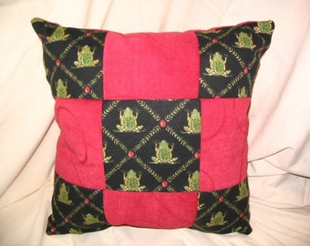 Throw Pillows PILLOW SALE !! 13in square Simple Blocks Feelin' Froggie Green Black Red Rainforest Green Tree Frog Decorator