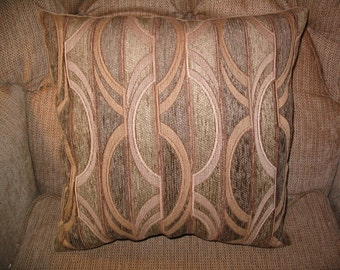 Throw Pillow SALE!!! New 16in square Modern Contemporary Industrial Chic OOAK Taupe Camel Tan Designer Decorator