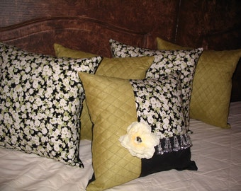 Throw Pillow PILLOW SALE!! 14in square Spring Time Lime Black White Floral Beaded Designer Decorator