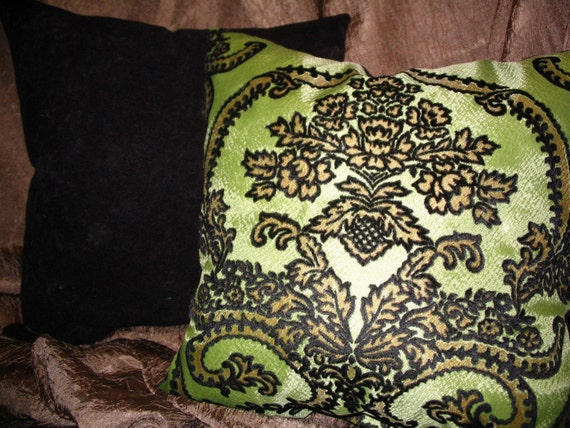 New 15in square Upcycled Vintage Retro Citron Green and Black Flocked Posh Elegant Luxurious Damask Decorator Throw Pillows