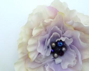 Flower fascinator, hair clip - Maci hint of purple