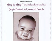 Step by Step Art Tutorial - How to do a Sepia Portrait using Coloured Pencils and Zest-it Pencil Solvent