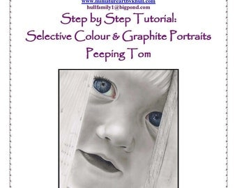 Step by Step Drawing Tutorial - Selective Colouring Graphite Pencil Portrait by Karen Hull