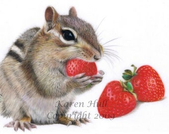 Strawberry Delight ACEO Signed Print by award winning artist Karen Hull
