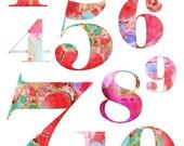 Nursery Art Print Numbers Counting 1 - 10 Pink