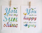 Children Decor Blue You Are My Sunshine You Make Me Happy When Skies Are Grey Print SET