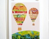 Hot Air Balloons Vintage Paper Collage PRINT