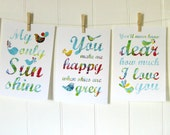 You Are My Sunshine Set Of FIVE Prints