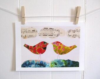 Bird Art Print (I Hear Two Birds)