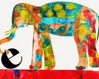 Nursery Art Print - Children's Art - Elephant- Alphabet Print E Is For Elephant, Nursery Art, Alphabet Wall Art Red Yellow Watercolor