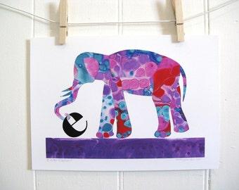 Purple Elephant Baby Child  Nursery Art Print (E is For Elephant Purple)