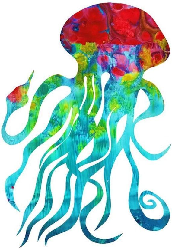 Items similar to Jellyfish Aqua Print Aqua Jellyfish, Wall ...