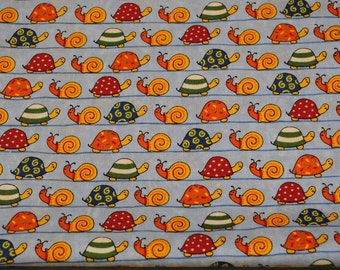 Fat Quarter Cute, Whimsical HTF Snails and Turtles on Light blue Background