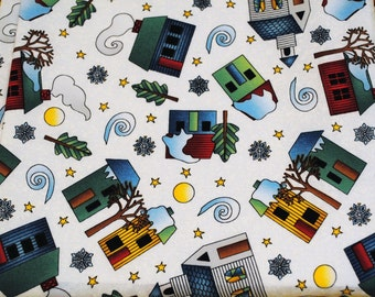 Fat Quarter Cute Snowy Wintertime Cabins, Houses, Churches Fabric