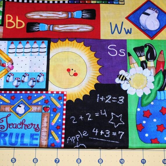 Fat Quarter Bright Colorful School Fabric