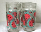 4 Watermelon printed drinking glasses