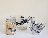 Popcorn typography bowl set