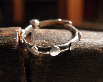 One silver hoop Earring, Tiny Unisex Every Day Hoop.