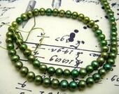 Grass Green Freshwater Potato Pearls - Full Strand - 5mm