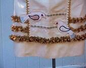 OOAK Linen cafe apron\/appliqued birds on vintage trim background