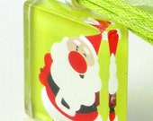 Glass Pendant- Jolly Santa on Lime Green background with Lime Green Organza Necklace