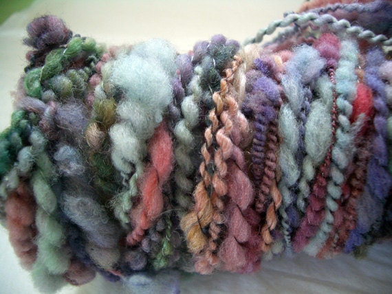 Art Yarn Handspun  WATER GARDEN  23 yds